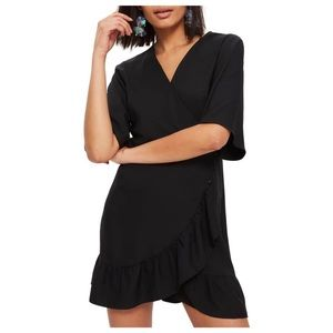 Topshop Little Black Wrap Dress with Ruffle Size 2